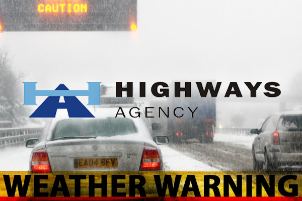 Highways Agency advises road users to be vigilant as severe weather forecast