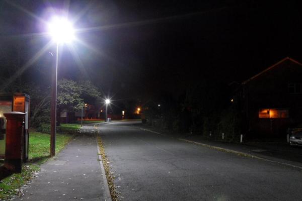 Led street lights at night