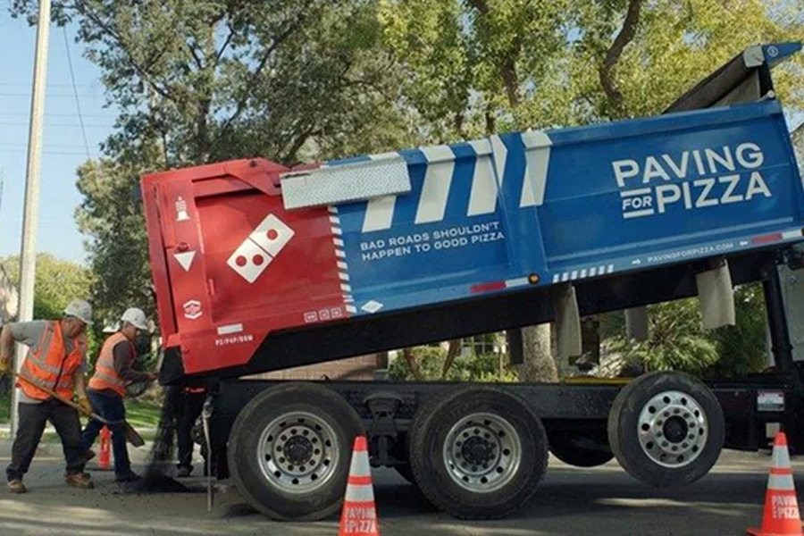Paving the way, Domino's new asphalt van. Photograph: Domino's Pizza