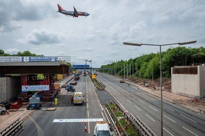 This is when work on the M1 'smart motorway' near East Midlands Airport is set to be completed