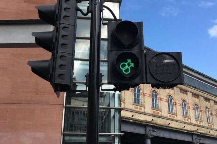 Manchester installs traffic lights to honour Pride