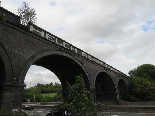 The 'new look' bridge graffiti (Picture: Rhodri Tippett)