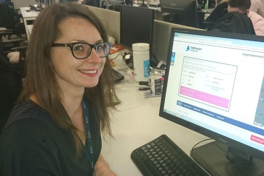 M56 project manager Clare Bond pictured updating the dedicated M56 smart motorway project webpage
