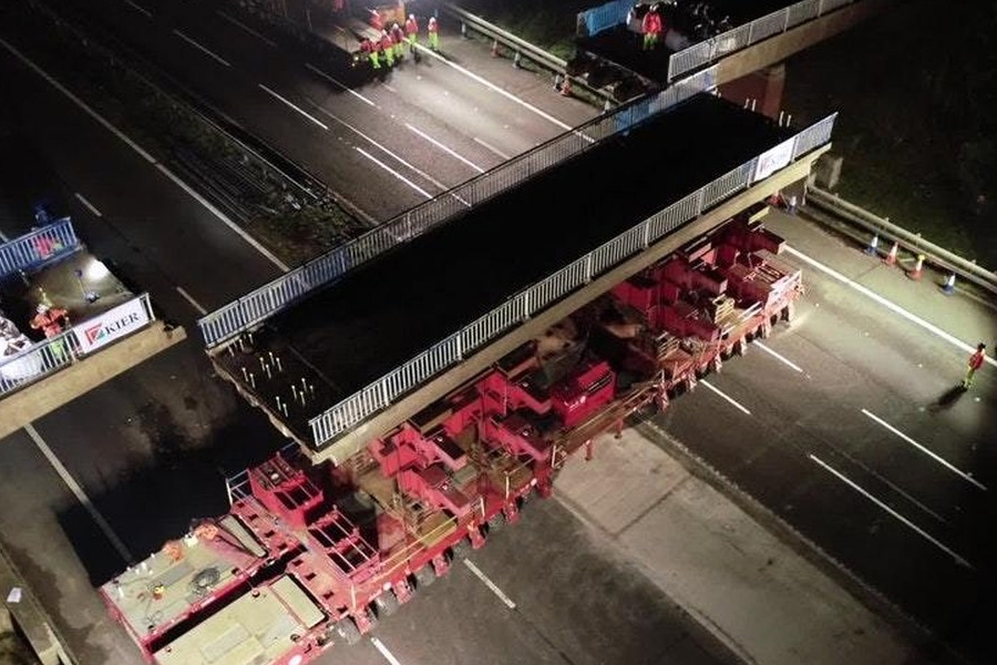 A section of bridge is removed from above the M6 in Staffordshire