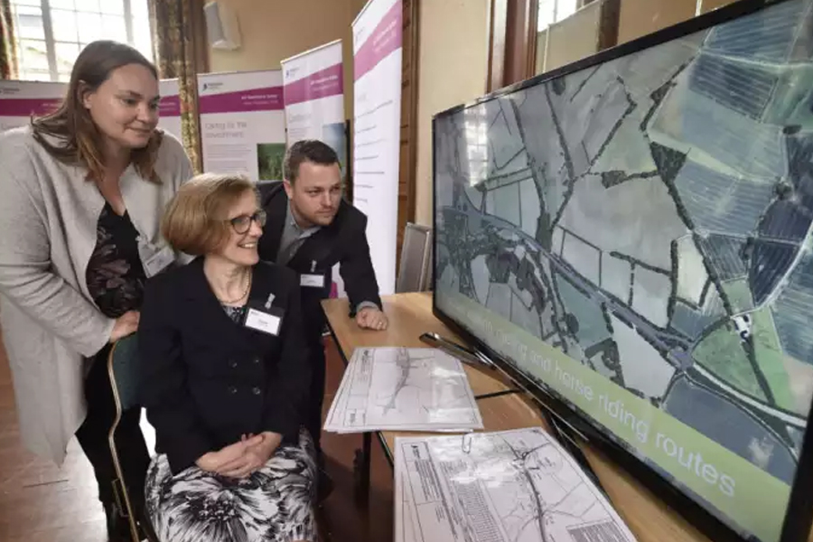 Highways England consultation for the A47 dual carriageway route between Wansford and Sutton - at Peterborough Town Hall. Julie Crawford (regional delivery director), Claudia Wegener (snr project manager) and Aaron Douglas (project manager) EMN-180918-124910009