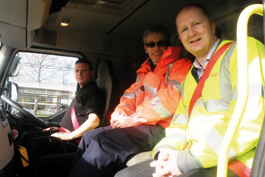 L-R: Adam Wood, Colas AIPV Engineer, Malcolm Palmer, TRL, Richard Marshal, Highways England Regional Director Yorkshire & North East