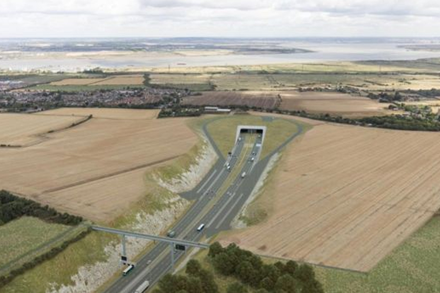 New designs for the tunnel entrance make the entrance 600m further south to reduce the impact on the landscape, Highways England says.