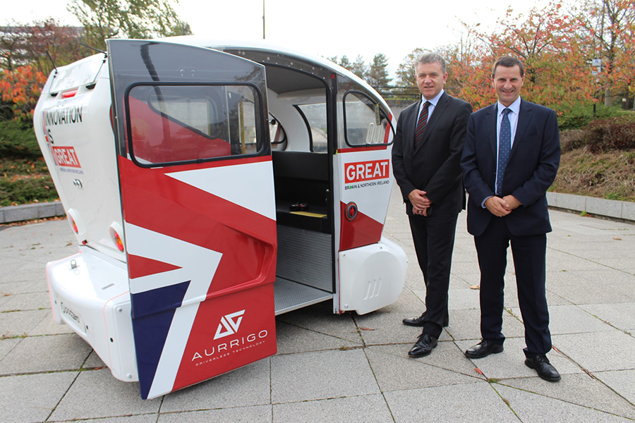Ringway's Scott Wardrop and Mike Notman showcase the driverless vehicle