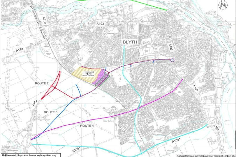 A Northumberland County Council map showing options for a Blyth relief road (Image: Copyright Unknown)