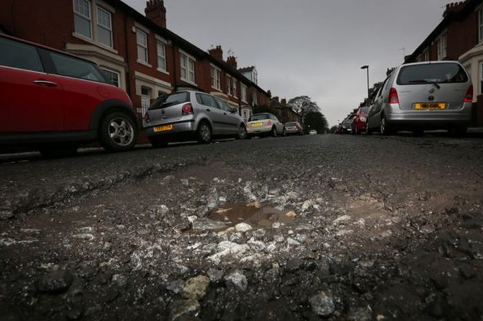 A huge pot-hole on Osbourne Avenue in Jesmond, Newcastle (Image: Newcastle Chronicle)