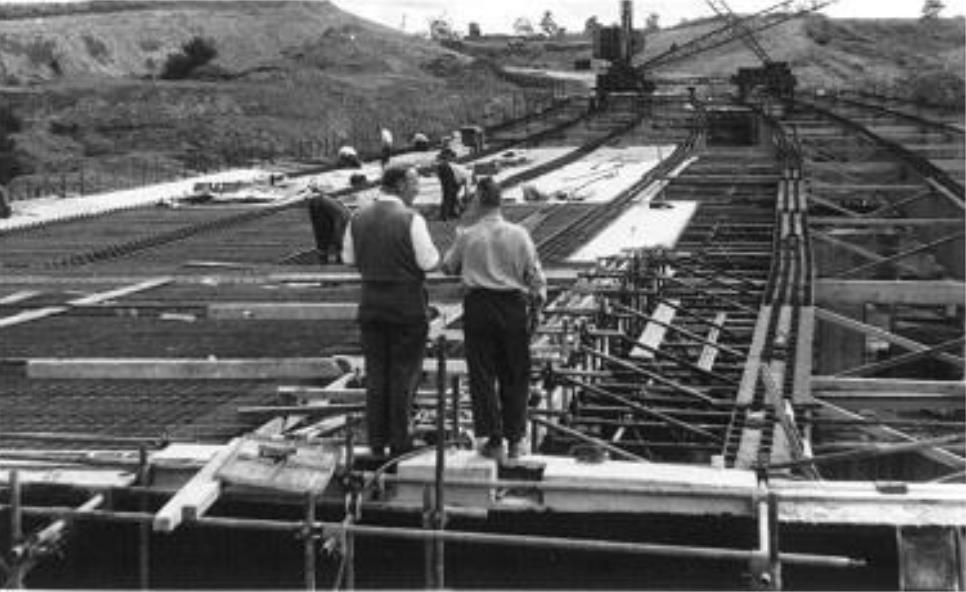 Image: Construction of the original Preston Bypass bridge, now part of the M6. Britain's first motorway