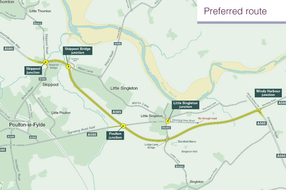 A plan of the proposed bypass south of the existing road