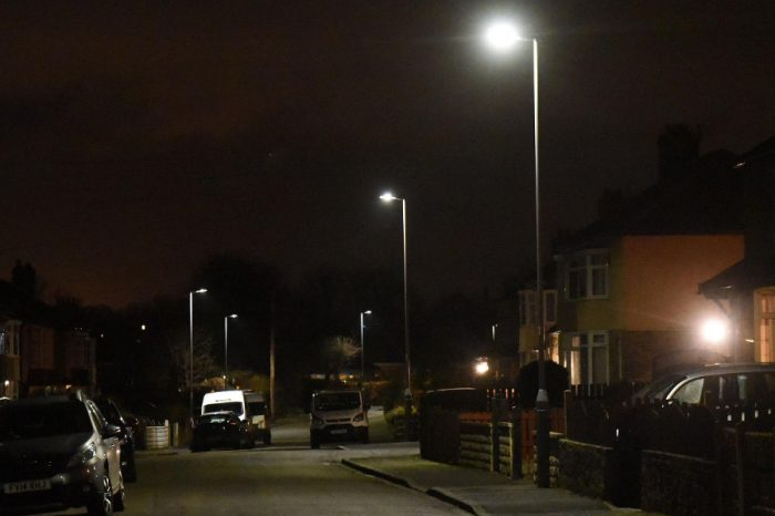 LED street lights on a street in Shipley.