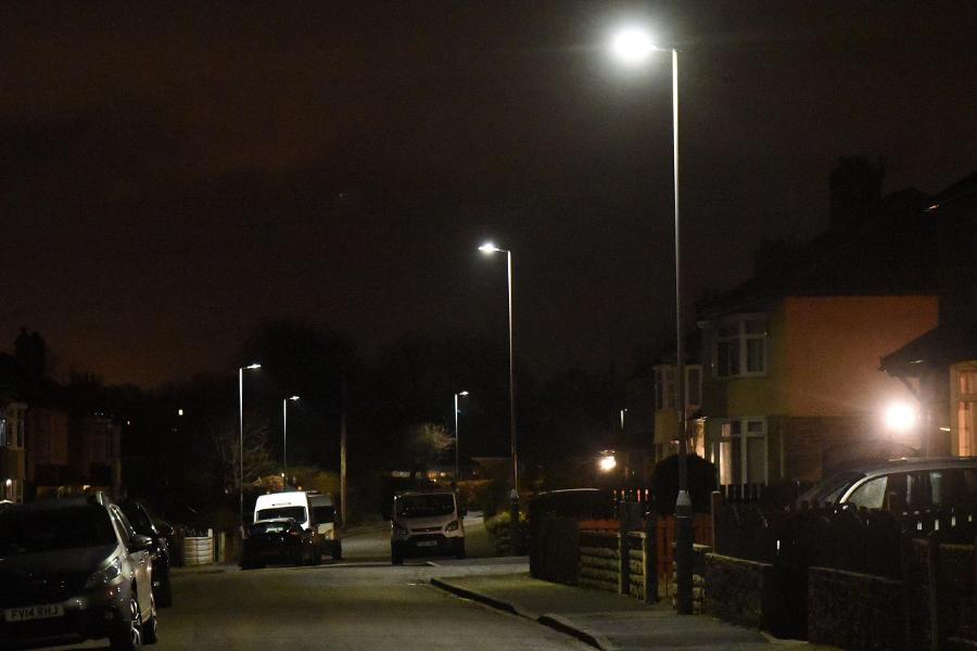 LED street lights on a street in Shipley.