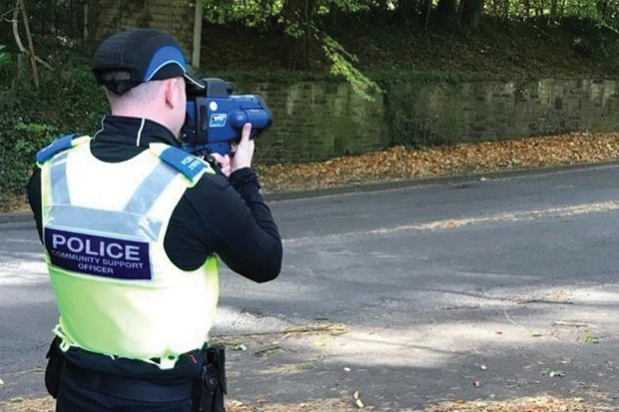Police officer using a Trucam device