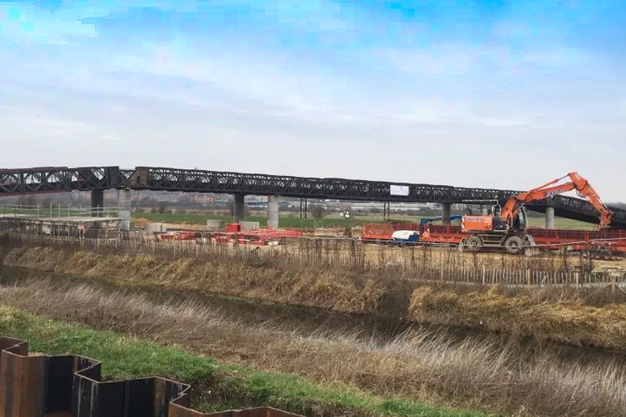 Two bridges are now open for contractors to gain access to the Lincoln Eastern Bypass site. Photo: Lincolnshire County Council