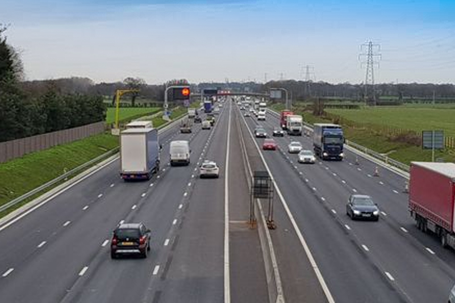 An extra lane is open on the northbound carriageway of the M6 between junctions 16 and 19, with an extra lane southbound expected to be complete tomorrow (Saturday, January 18) (Image: Highways England)