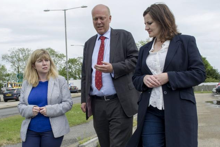 Transport secretary Chris Grayling with Conservative candidates Maria Caulfield and Caroline Ansell