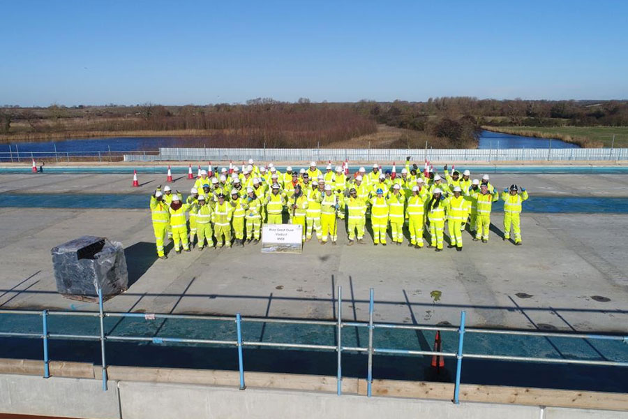 The team marks the completion of the structure work on the River Great Ouse viaduct