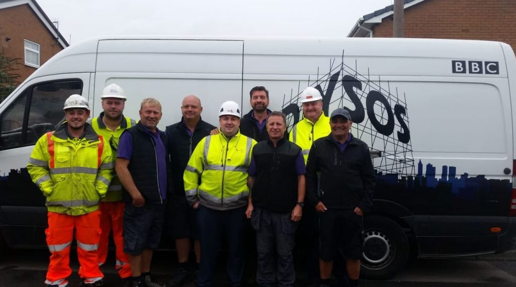 The Amberon team on site with Nick Knowles and the DIY SOS team