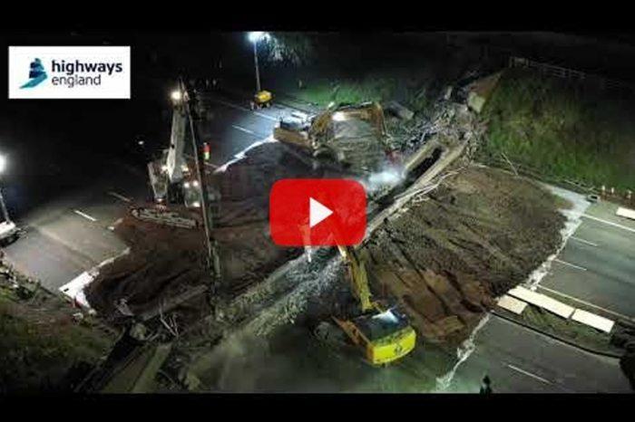 Watch as 200ft-long motorway bridge bites the dust