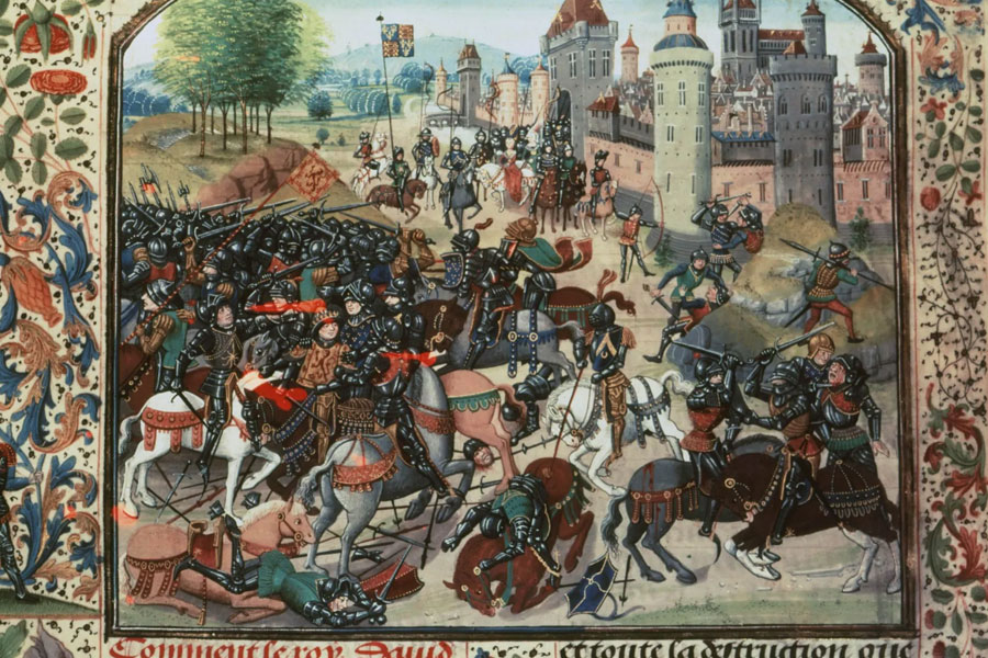 A depiction of the battle of Neville's Cross CREDIT: HARPER COLLINS PUBLISHERS/REX/SHUTTERSTOCK