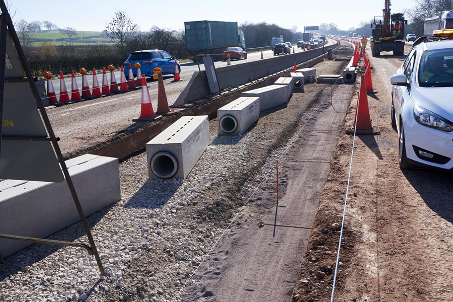 Caption: The drainage system developed for the M6 upgrade at junctions 13 to 15