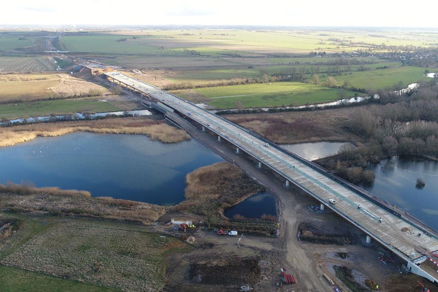 Work has finished on the half-mile long River Great Ouse viaduct on the new A14