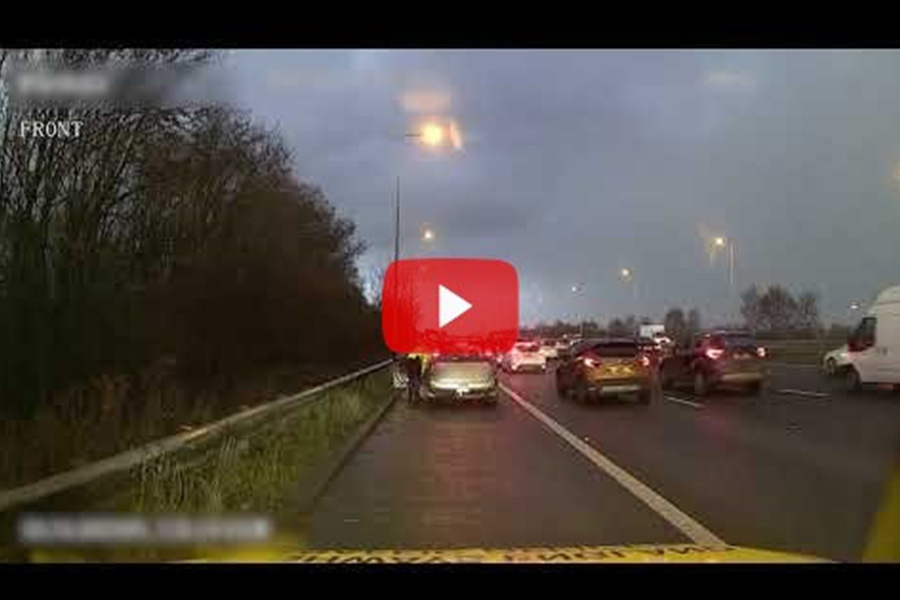 Caption: Footage released by Highways England shows the dangers of driving too closely