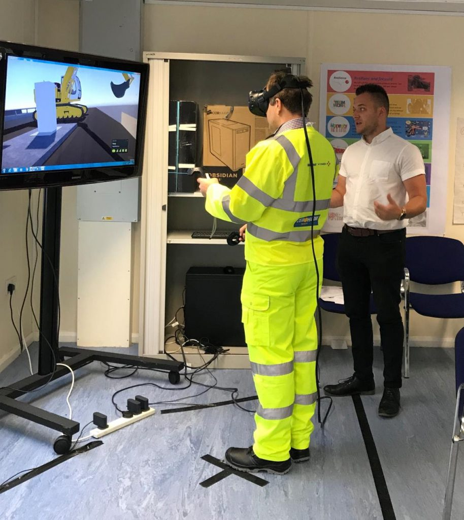 Caption: A virtual reality training session in action