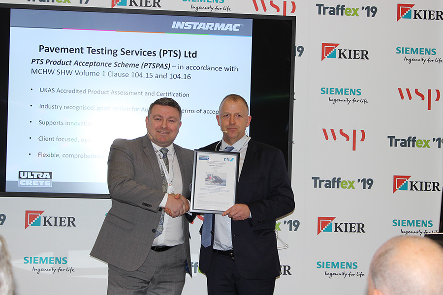 Instarmac and Tough Patch®presented with their certification on the Trading Floor at Traffex by PTS' Managing Director, Dr Tony Sewell