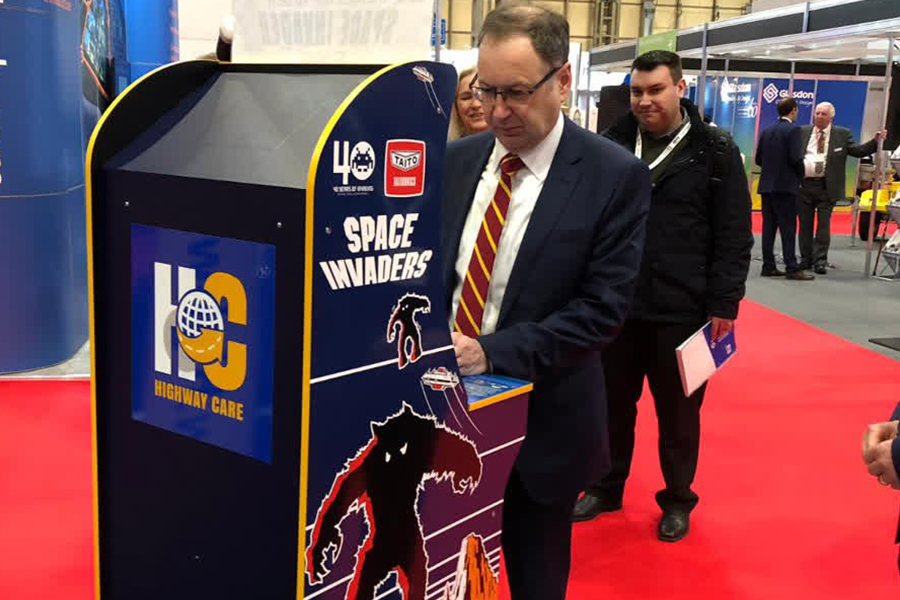 Highways England Chief Executive Jim O'Sullivan stops by the Highway Care stand at Traffex 2019