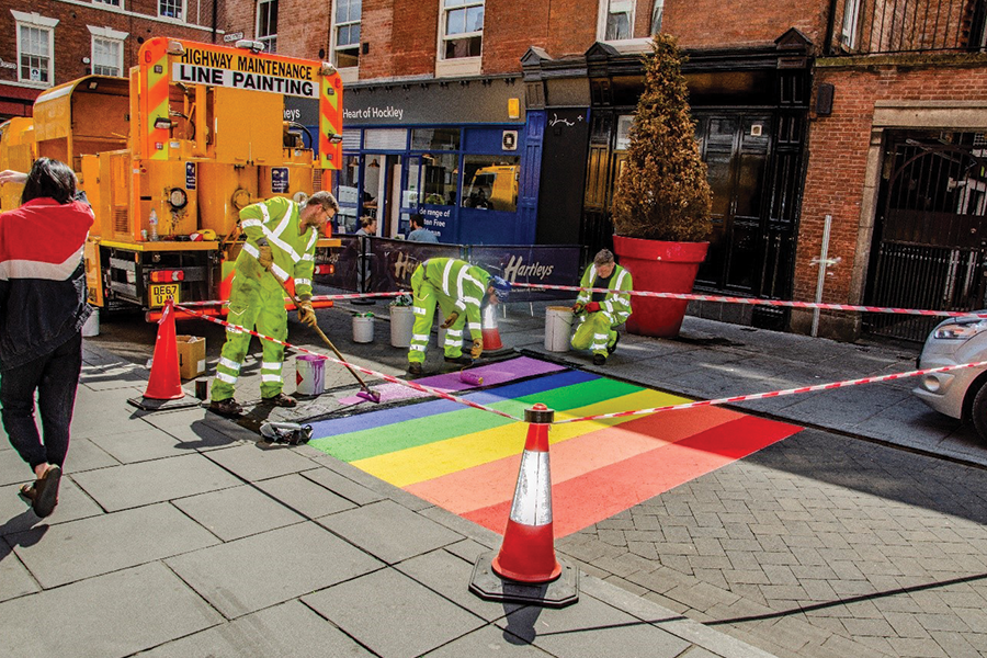 Pictured: The L&R Roadlines team installing one of the 'Rainbow Crossings' in Nottingham City Centre