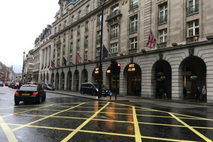 Drivers have been fined almost £1m for stopping in this yellow box junction near Piccadilly Circus