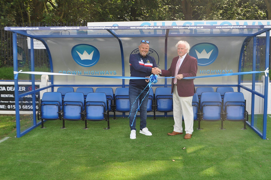 Steve Jones, Crown Highways Chairman and Mick Joiner, Chief Exec at Chasetown FC ready to cut the ribbon and unveil the new dugouts