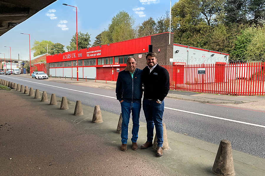 Managing Director Keith Baldwin (left) and Business Director Greg Baldwin (right) stand proudly by the new site