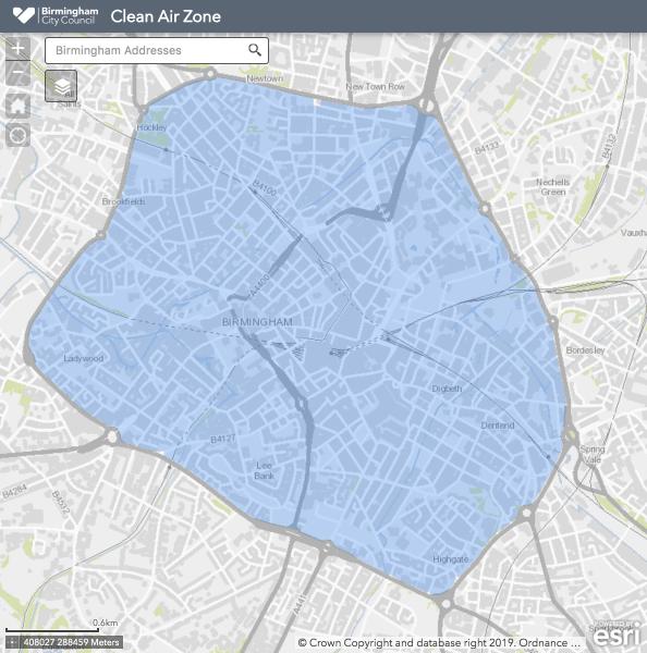 The image shows the Birmingham CAZ perimeter