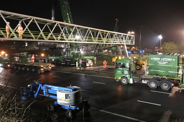 Video footage shows removal of M5 motorway services bridge