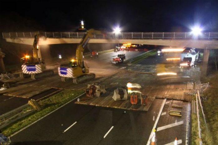 Time lapse video showcases M6 bridge demolition