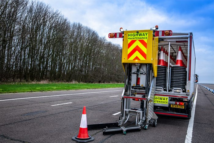 Highways England unveils pioneering automated cone laying vehicles