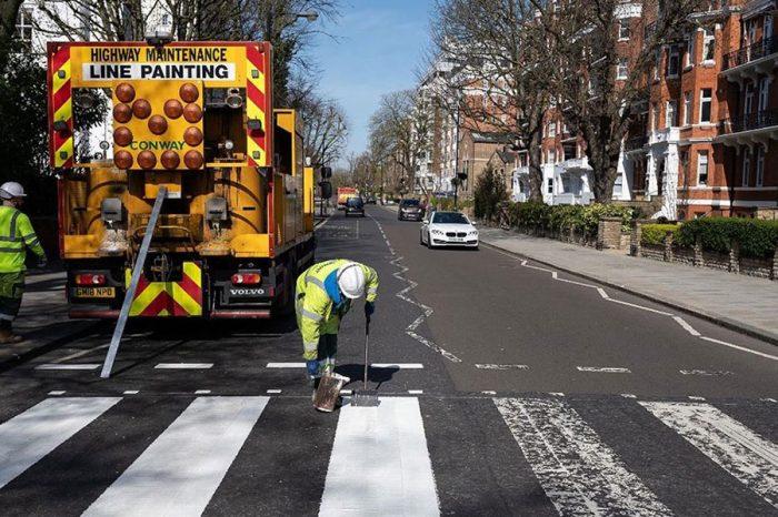 Iconic Abbey Road zebra crossing repainted during coronavirus lockdown