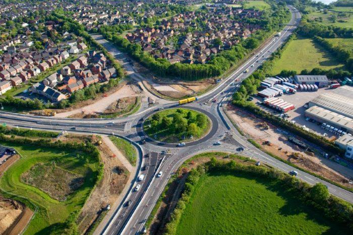 Bird's eye views of progress on Highways England roundabout improvements