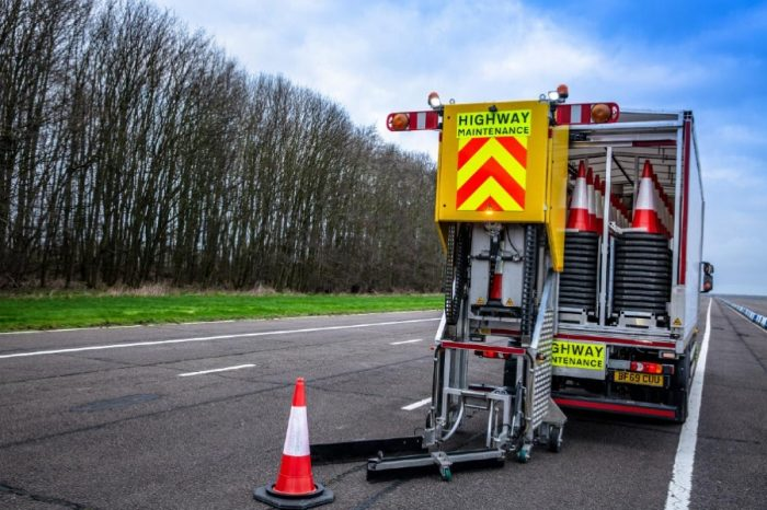 Automated cone laying vehicle spotted on roads in new trial