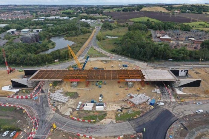 New 142-metre bridge over A19 Testo's roundabout reaches pivotal milestone