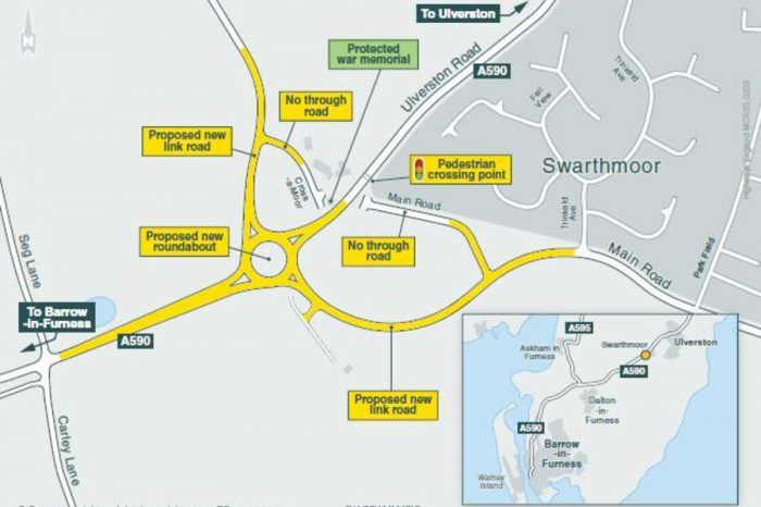 Spring start for Ulverston's new Cross-a-Moor roundabout