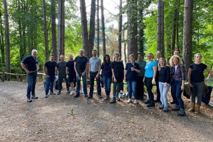 National Highways project team get stuck into volunteering day at Painshill Park