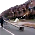 VIDEO | Bizarre moment man is caught with a STREETLIGHT in a trolley